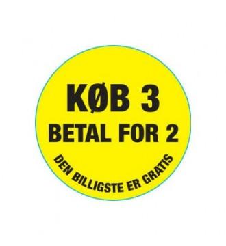"""Køb 3 betal for 2"""" klistermærke"""", rabatklistermærke, mærkning - www.boxel.dk"""