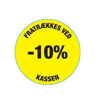 Gul rabatklistermærke 10%, rabatklistermærke, mærkning - www.boxel.dk