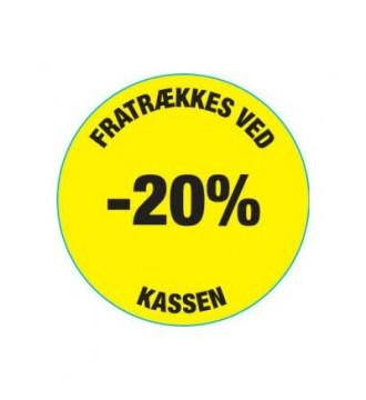 Gul rabatklistermærke 20%, rabatklistermærke, mærkning - www.boxel.dk