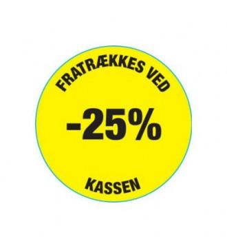 Gul rabatklistermærke 25%, rabatklistermærke, mærkning - www.boxel.dk