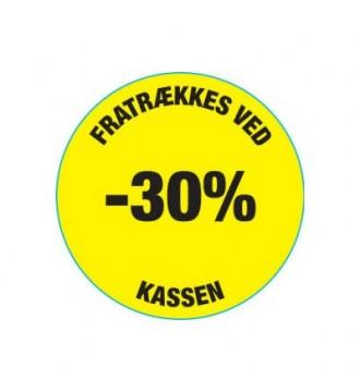 Gul rabatklistermærke 30%, rabatklistermærke, mærkning - www.boxel.dk