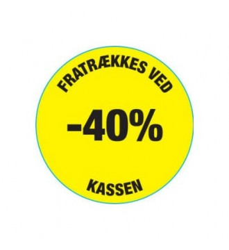 Gul rabatklistermærke 40%, rabatklistermærke, mærkning - www.boxel.dk