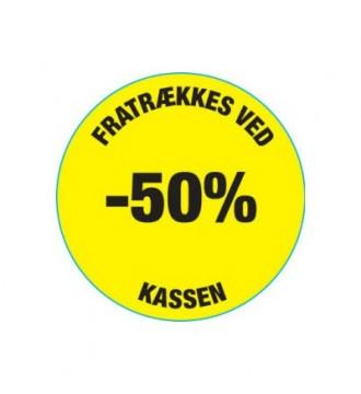 Gul rabatklistermærke 50%, rabatklistermærke, mærkning - www.boxel.dk