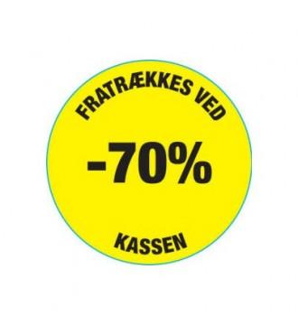 Gul rabatklistermærke 70%, rabatklistermærke, mærkning - www.boxel.dk