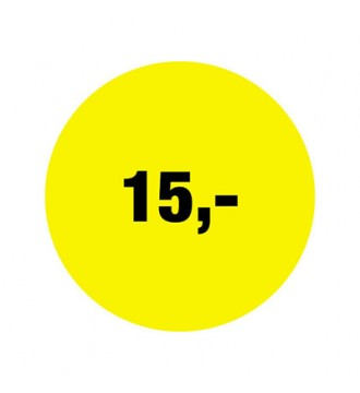 Rabatklistermærke 15 kr, rabatklistermærke, mærkning - www.boxel.dk
