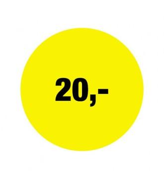 Rabatklistermærke 20 kr, rabatklistermærke, mærkning - www.boxel.dk