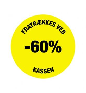 Gul rabatklistermærke 60%, rabatklistermærke, mærkning - www.boxel.dk