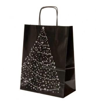 Sort papirspose med juletræ