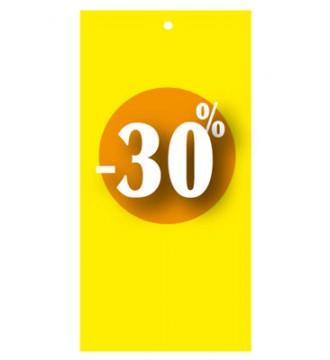Rabatmærke 30% i etiketform til tekstilpistol