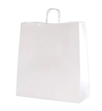 Hvid genbrugspapirpose 35x14x36 cm