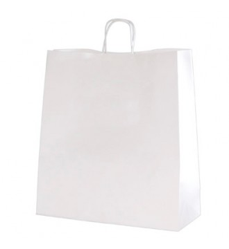 Hvid genbrugspapirpose 35x14x44 cm