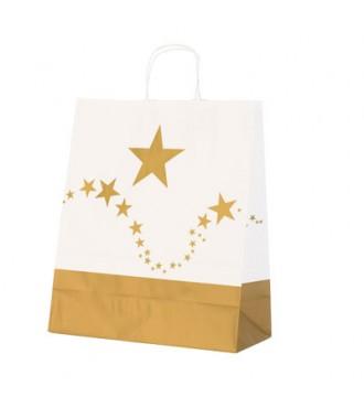 Papirspose med guldstjerner