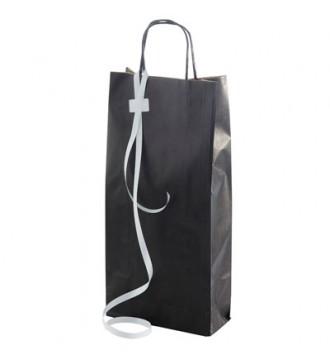 Sort gavepose til 2 vinflasker