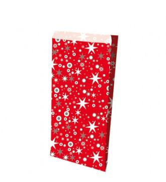 Rød julegavepose, 15x9x26 cm