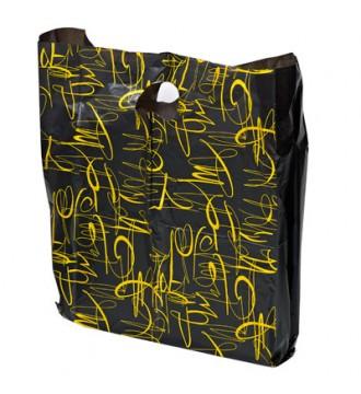 Sort plastpose m/guldmønster, 35x5,5x45cm