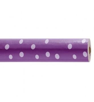 Gavepapir med mønster lilla med hvide prikker - emballage