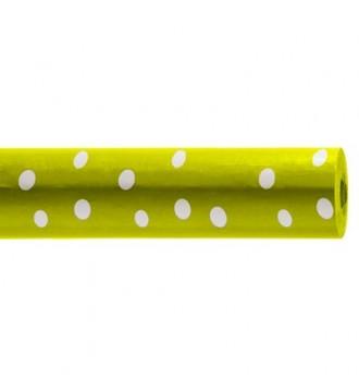Gavepapir med mønster limegrøn med hvide prikker - emballage