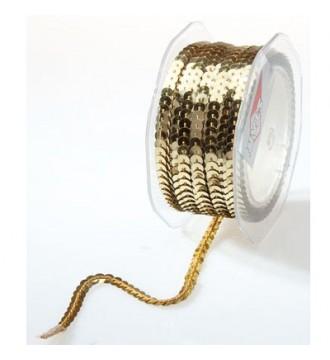 Gavebånd med pailletter, guld - emballage