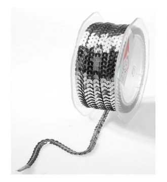 Gavebånd med pailletter, sølv - emballage