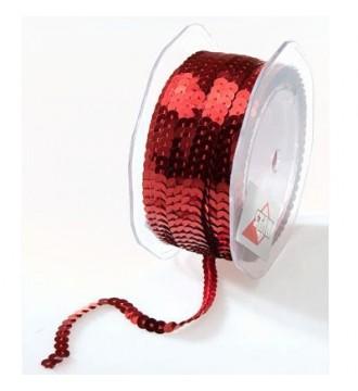 Gavebånd med pailletter, rød - emballage