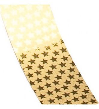 Gavebånd med stjerner, guld - emballage