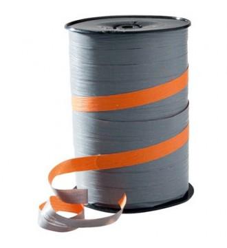 Tofarvet gavebånd, orange/grå - emballage
