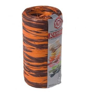 Tofarvet gavebånd i bast, chokoladebrun/orange - emballage