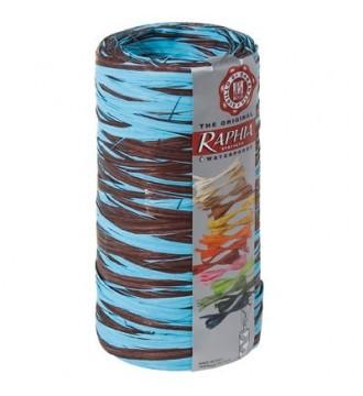Tofarvet gavebånd i bast, chokoladebrun/turkis - emballage