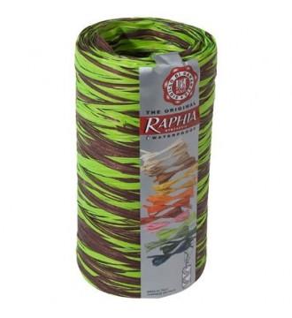Tofarvet gavebånd i bast, chokoladebrun/limegrøn - emballage