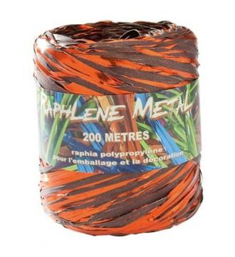 Blank tofarvet gavebånd i bast, chokoladebrun/orange - emballage