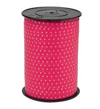 Gavebånd, fuchsia med prikker - emballage