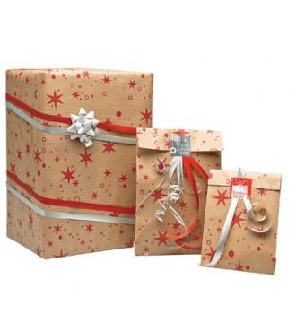 Julegavepose med stjerner, 7x12,5 cm - emballage