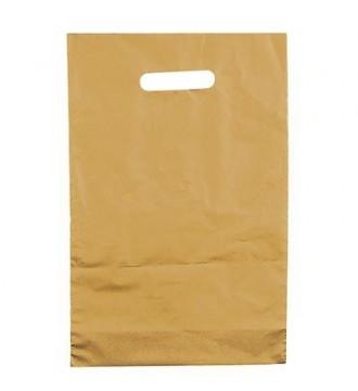 Guldfarvet plastikpose 35x5x45 cm - emballage
