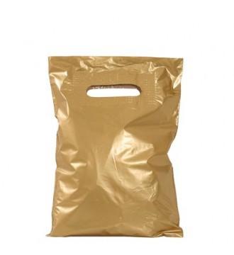 Guldfarvet plastikpose 25x4x38 cm - emballage