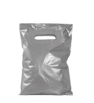 Sølvfarvet plastikpose 22x30 cm - emballage