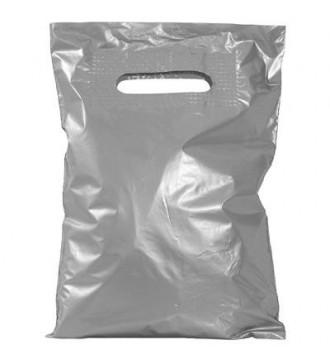 Sølvfarvet plastikpose 35x5x45 cm - emballage