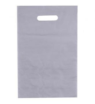 Sølvfarvet plastikpose 25x4x38 cm - emballage