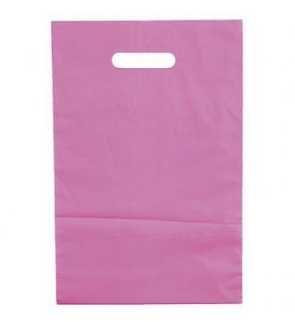 Rosafarvet plastikpose 25x4x38 cm - emballage