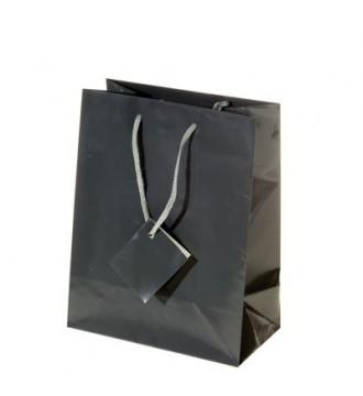 Brilliant antrasit grå papirspose, 17x9,8x22,9 cm, brilliant antrasit grå - emballage