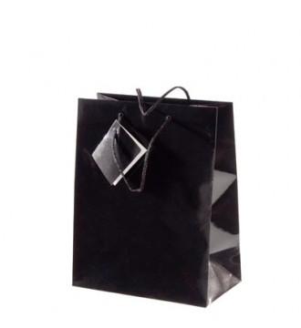 Brilliant sort papirpose, 17x9,8x22,9 cm, brilliant sort - emballage