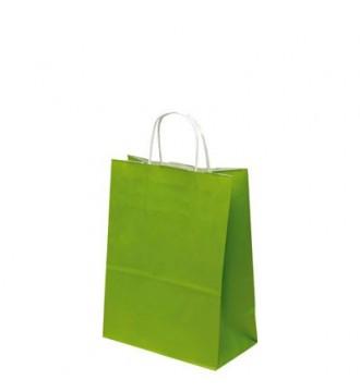 Limegrøn papirspose 24x12x31 cm - emballage