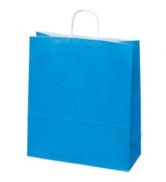 Turkisfarvet papirspose 35x14x44 cm - emballage
