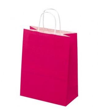 Fuchsiafarvet Papirspose 24x12x31 cm - emballage
