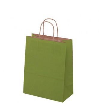 Olivengrøn papirspose 24x12x31 cm - emballage
