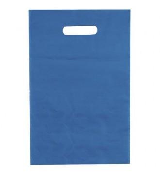 Metalblå plastikpose 35x4x45 cm