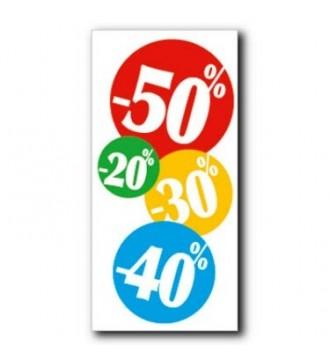 Rabatskilt 20%, 30%, 40% og 50% i papir