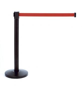 Afspærring inc. 2 meter rødt bånd. H:92 cm incl. fodplade. SORT