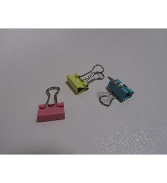 Metalklemmer. 15mm, gul,grøn,blå og pink, 50 stk.