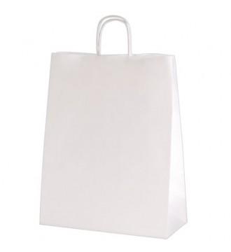 Hvid genbrugspapirpose 19x8x21 cm