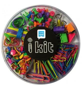 Sortiment kasse. Clips,elastikker, tegnestifte
